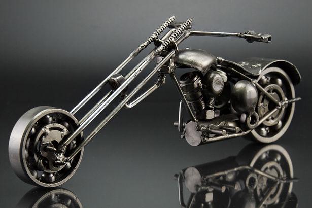 Ape chopper motorcycle scrap sculpture left 1