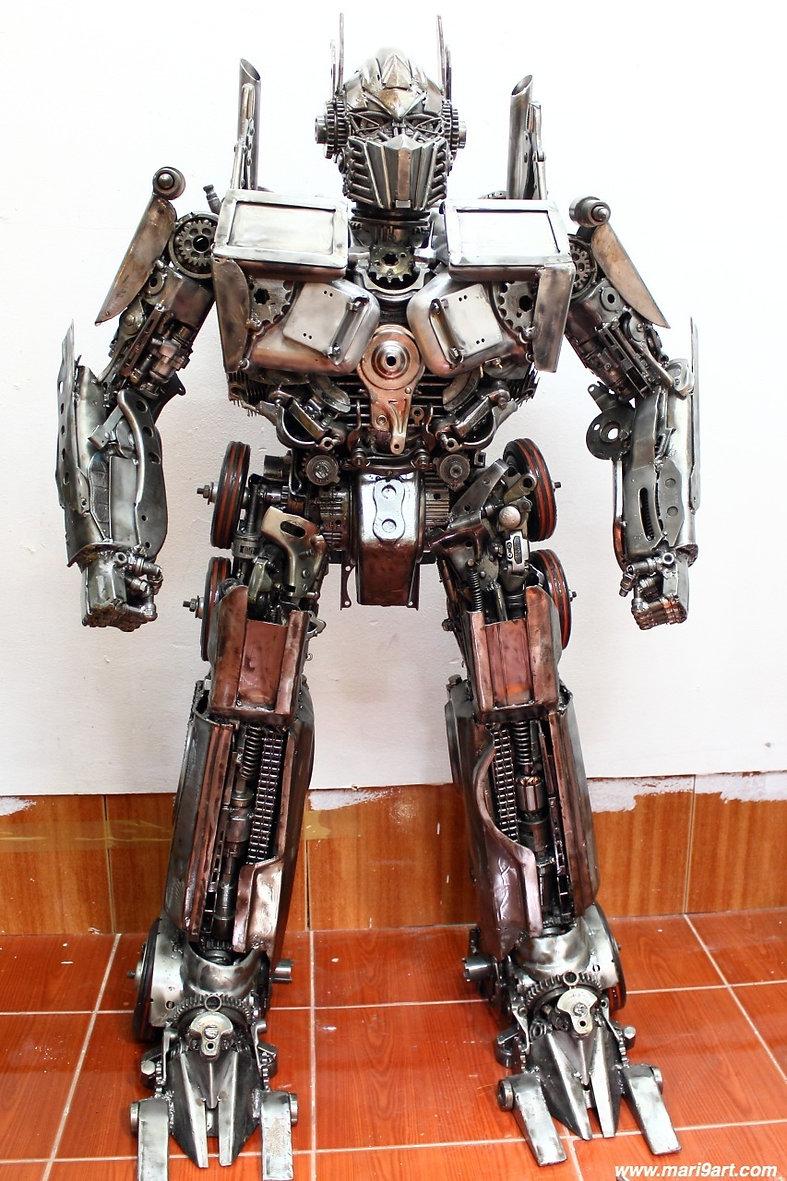 cool optimus transformer recycled metal art sculpture