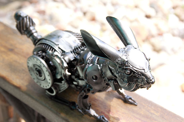 Rabbit scrap metal art sculpture, back