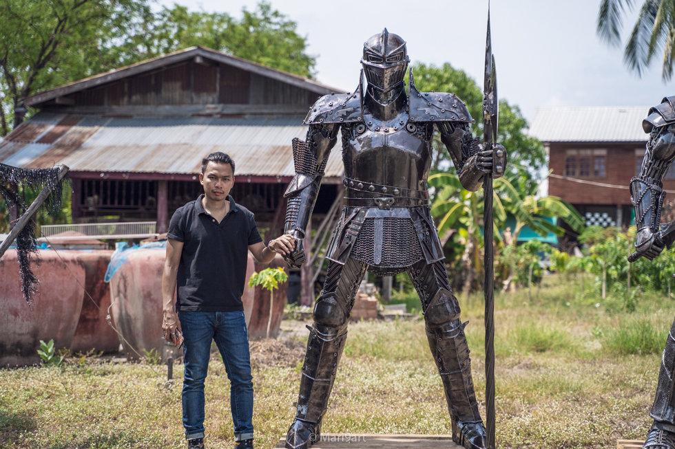 2.2meter knight warrior scrap metal artwork