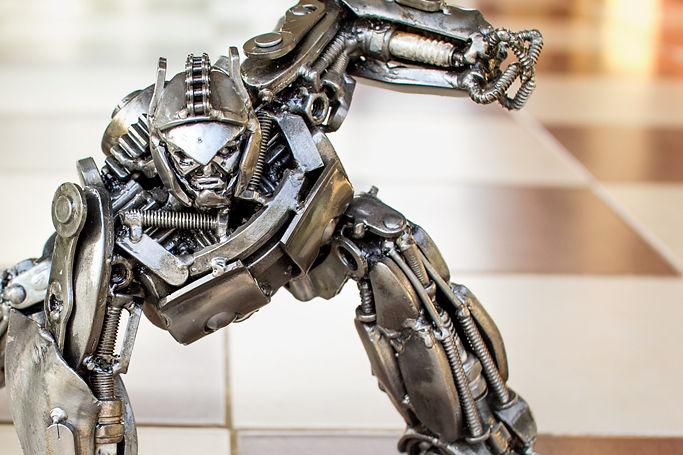 optimus prime scrap metal sculpture zoom face