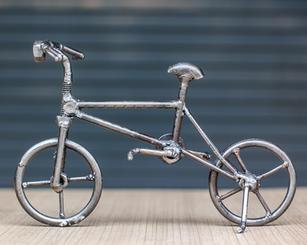 Bicycle scrap metal sculpture