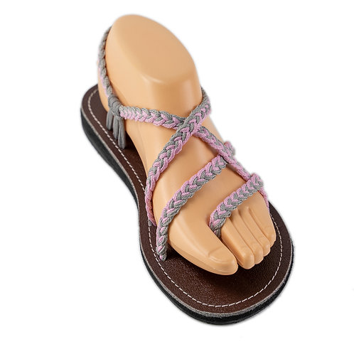 Braided sandals pink grey sassy style