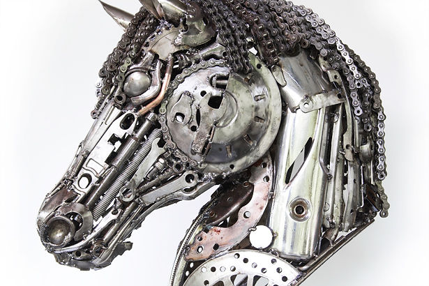 Horse head scrap metal sculpture left 3