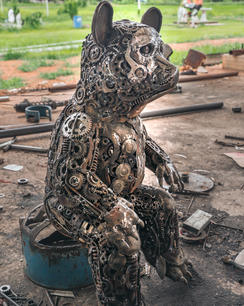Bear scrap metal sculpture