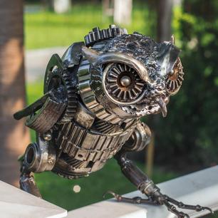 Owl metal sculpture scrap metal art sculpture