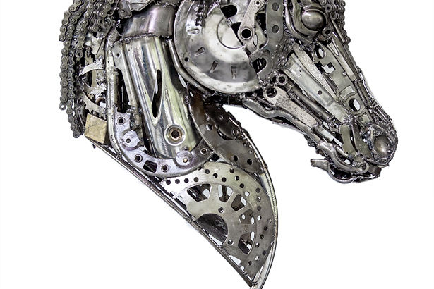 Horse head scrap metal art,right