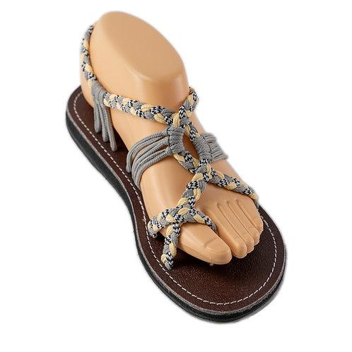 Braided sandals grey cream abby style