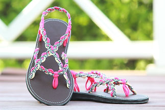 sandals for women paula design pink white color by nittynice