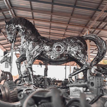 Metal Horses life size scrap metal sculpture done full size