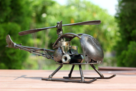 Helicopter metal sculpture
