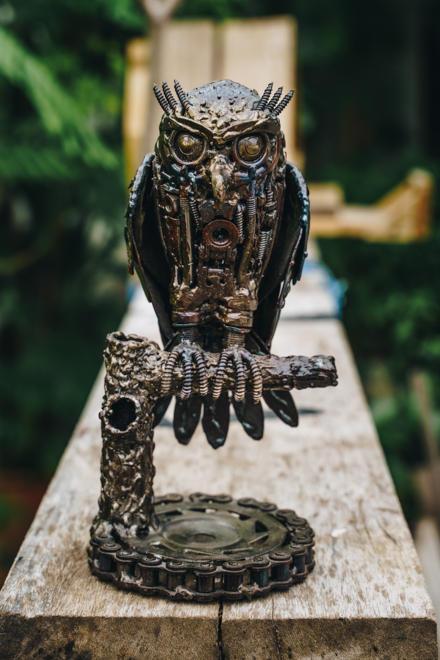Little owl metal sculpture