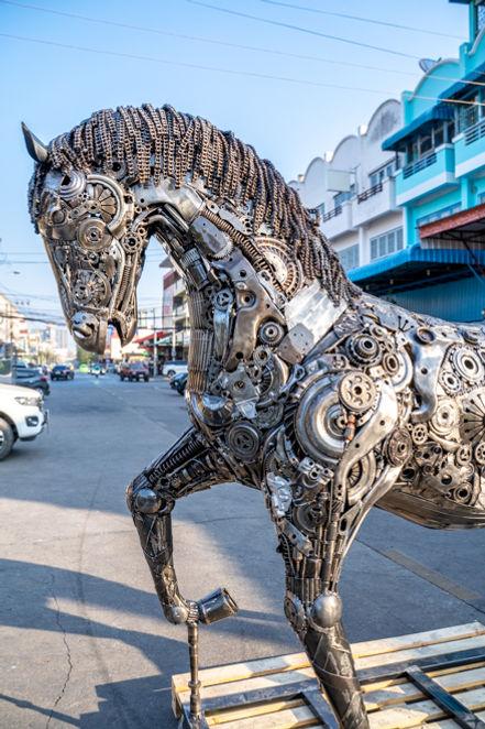 Metal Horses life size scrap metal art done head part