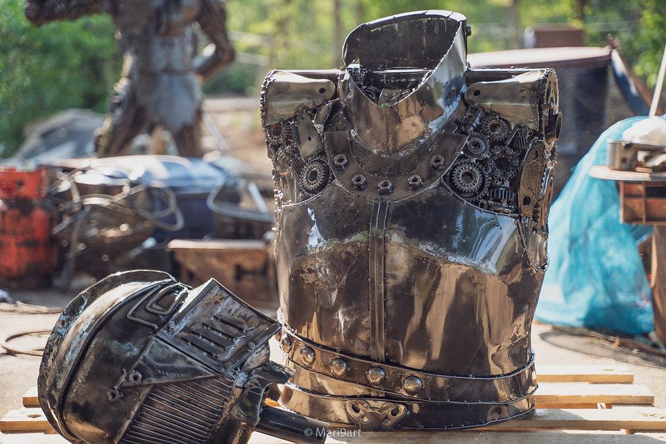 knight warrior scrap metal artwork body part