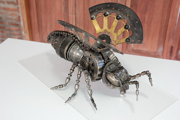 Scrap metal animal art work in bee
