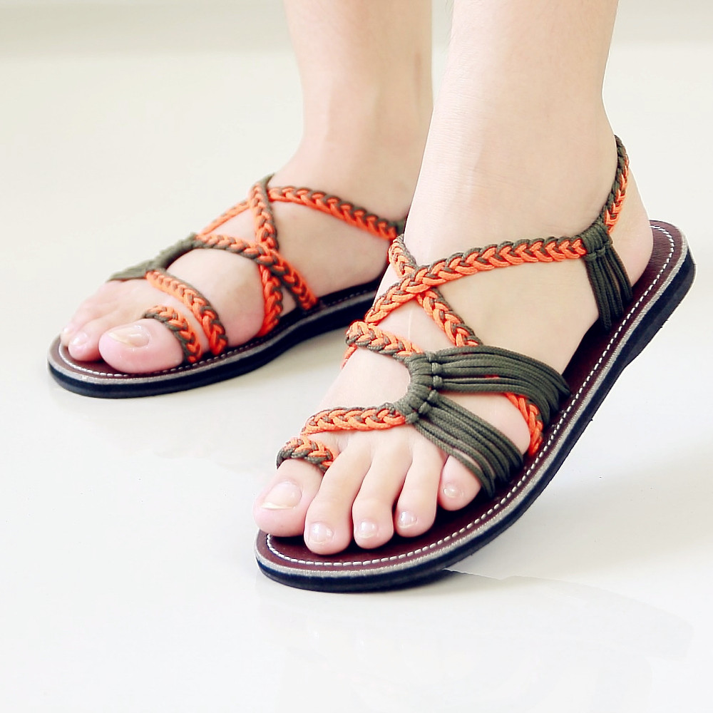 Braided sandals orange and green sandy style