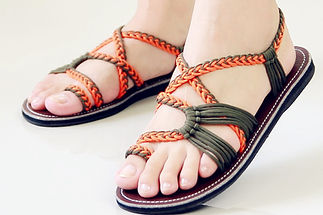 sandals for women sandy design orange green color by nittynice