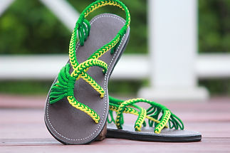 sandals for women lolita design green yellow color by nittynice