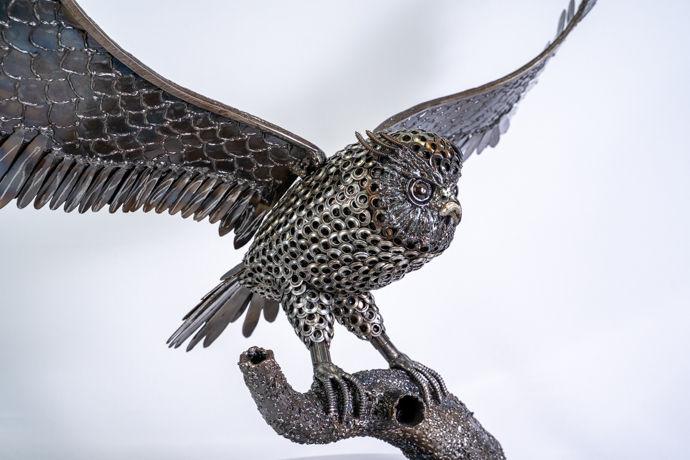Flying owl metal art sculpture artwork_-