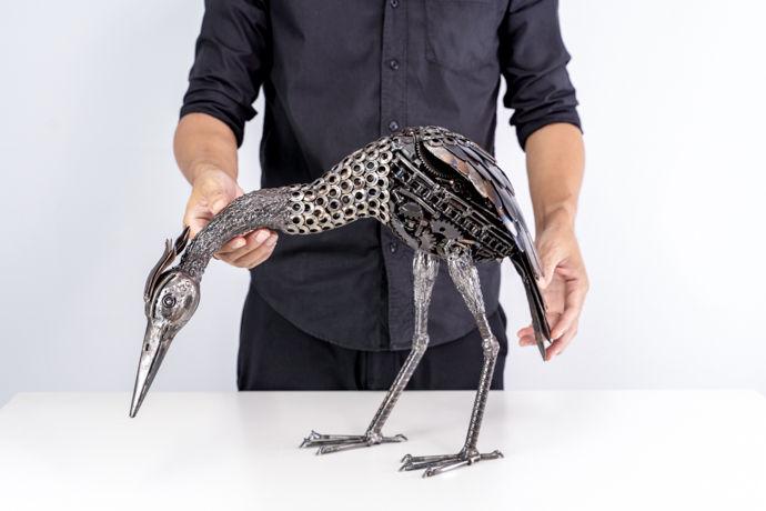 Crane bird metal art sculpture artwork_-