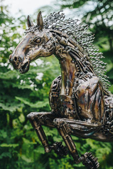 Horse metal sculpture
