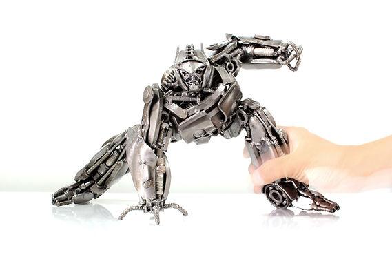 compare size optimus prime scrap metal sculpture body