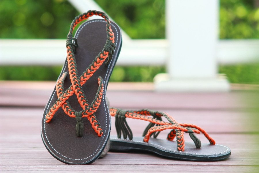 Braided sandals orange green paula style