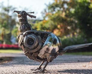 Bird scrap metal sculpture