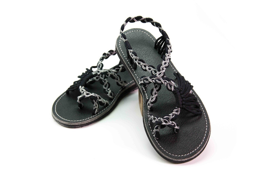 handmade sandals black and white color