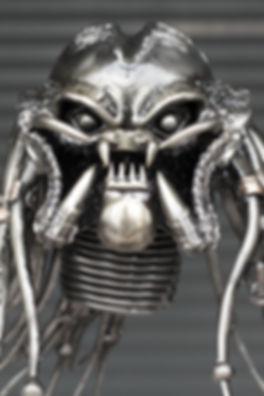 Predator scrap metal sculpture face zoom