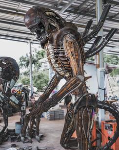 Alien scrap metal art