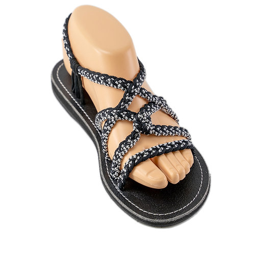 Braided sandals black white vicky style