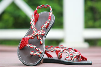 sandals for women sandy design red cream color by nittynice