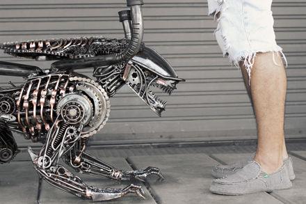 Steampunk alien sculpture metal