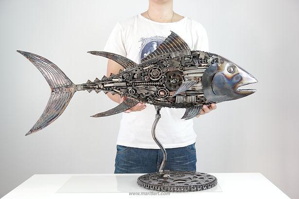 Tuna fish metal sculpture made from recycle scrap metal 1