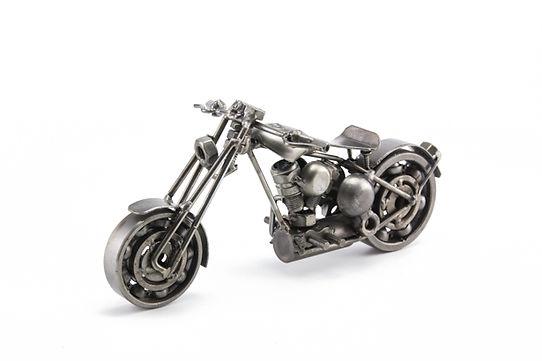 Bobber chopper bike model scrap sculpture made from scrap steel 2