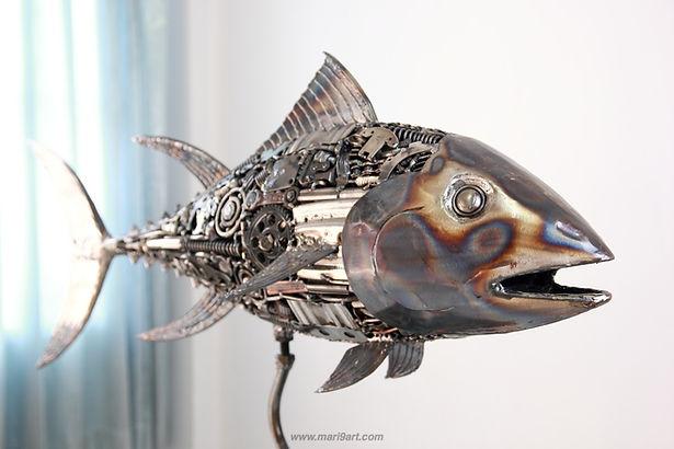 Tuna fish metal sculpture made from recycle scrap metal 3