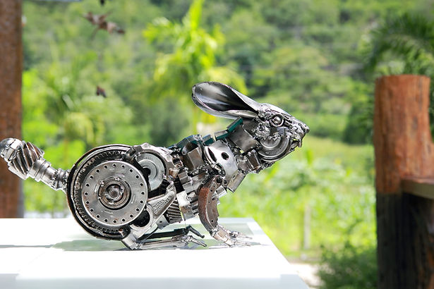 Rabbit scrap metal art sculpture, right
