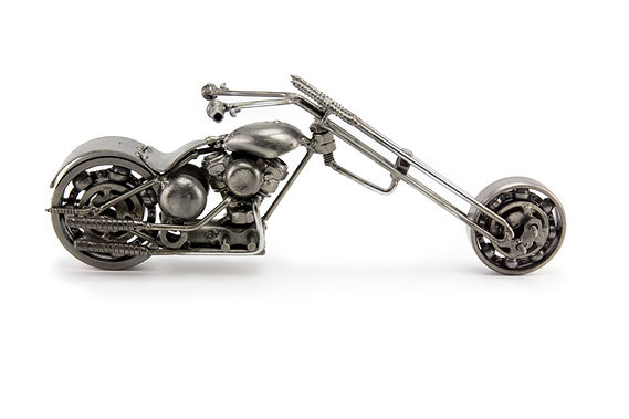 Ape chopper motorcycle scrap sculpture right