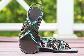 sandals for women bobby design blue green color by nittynice
