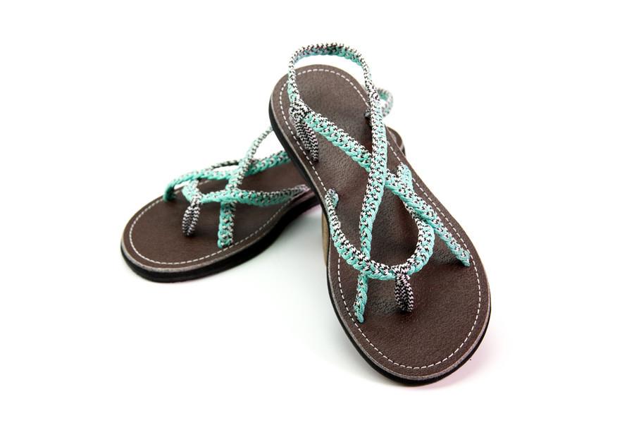 braided sandal blue white color