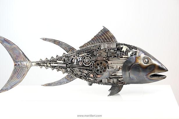 Tuna fish metal sculpture made from recycle scrap metal 4
