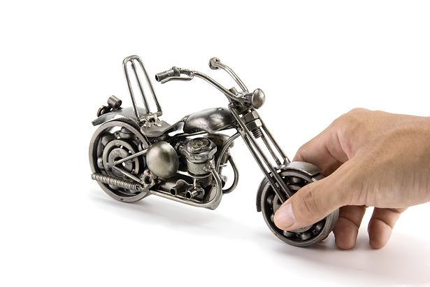 Chumps chopper bike model scrap sculpture made from scrap steel 3