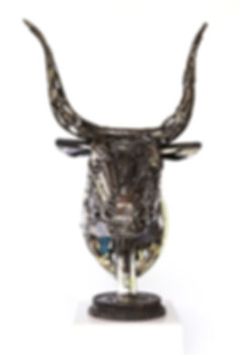 bull metal head sculpture