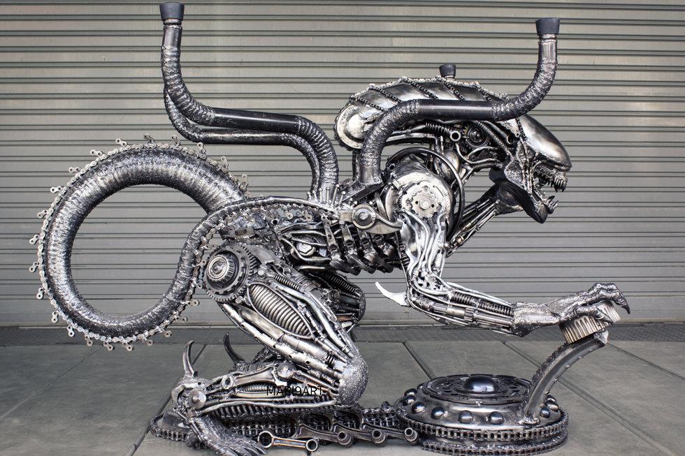Alien scrap metal artwork