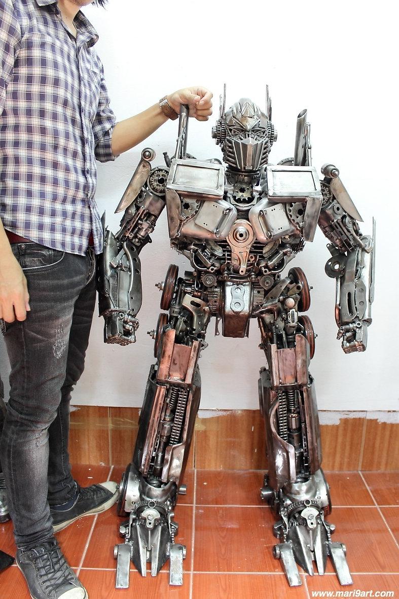 Transformer steampunk recycled metal art sculpture