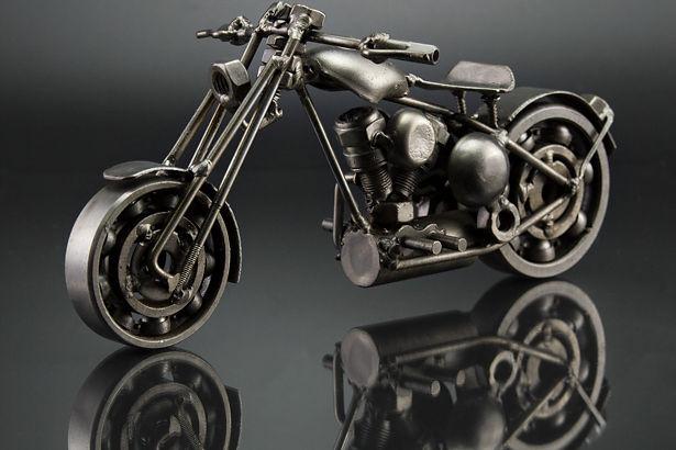 Bobber chopper bike model scrap sculpture made from scrap steel 4