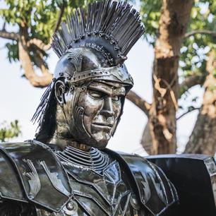 Roman warrior scrap metal art sculpture