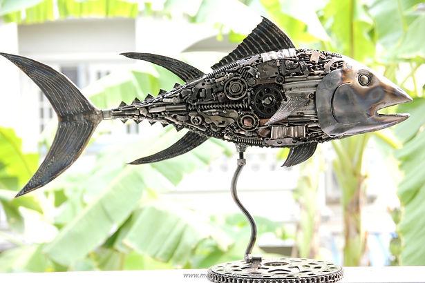 Tuna fish metal sculpture made from recycle scrap metal 5