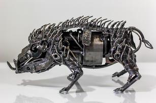 Wild boar scrap metal sculpture